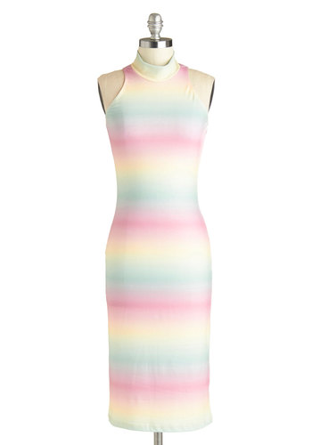 Ice Cream Socialite Dress - Long, Multi, Stripes, Pastel, Bodycon / Bandage, Sleeveless, Good, Exposed zipper, Party, Girls Night Out