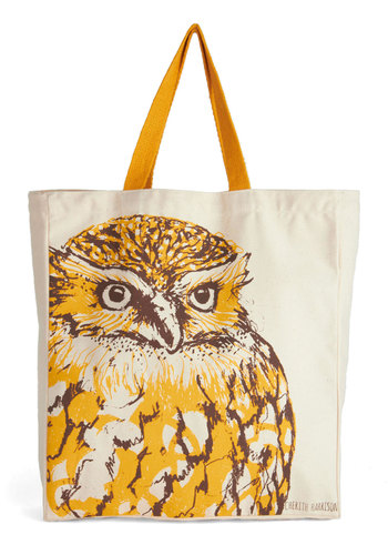 Ta-ta for Owl Bag - Orange, Print with Animals, Owls, Cotton, Brown, Tan / Cream, Casual, Scholastic/Collegiate, Eco-Friendly, Boho, Halloween, Work