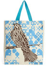 Perched to Proofread Tote - Blue, Print with Animals, Casual, Cotton, Brown, Tan / Cream, Travel, Scholastic/Collegiate, Eco-Friendly, Work