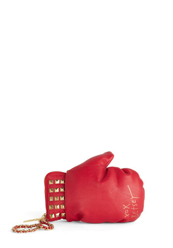 Betsey Johnson Put 'Em Up Bag by Betsey Johnson - Red, Studs, Statement, Party, Girls Night Out, Solid, Better, Quirky, Faux Leather