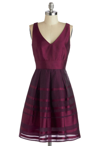 Formal or Ladder Dress in Plum - Chiffon, Satin, Woven, Mid-length, Purple, Solid, Pleats, Cocktail, A-line, Tank top (2 thick straps), Better, V Neck, Wedding, Party, Holiday Party, Bridesmaid, Variation, Formal