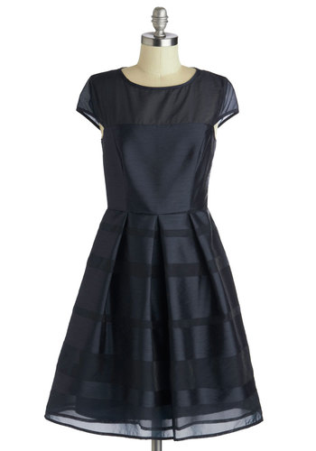Navy It's Love Dress - Mid-length, Chiffon, Sheer, Woven, Blue, Solid, Pleats, Cocktail, A-line, Cap Sleeves, Better, Wedding, Bridesmaid, Prom, Special Occasion, Short Sleeves