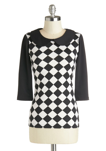 Chess Friends Forever Top - Mid-length, Woven, Black, White, Checkered / Gingham, Peter Pan Collar, Collared, Casual, 3/4 Sleeve, Black, 3/4 Sleeve