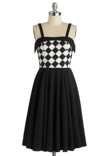 Chess Friends Forever Dress - Long, Knit, Black, White, Checkered / Gingham, Party, A-line, Spaghetti Straps, Better, Pleats, Rockabilly, Vintage Inspired, 50s, Top Rated