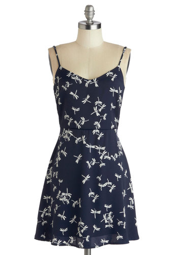 Damselfly Free Dress - Print with Animals, Short, Blue, White, Backless, Casual, A-line, Spaghetti Straps, Good, Summer