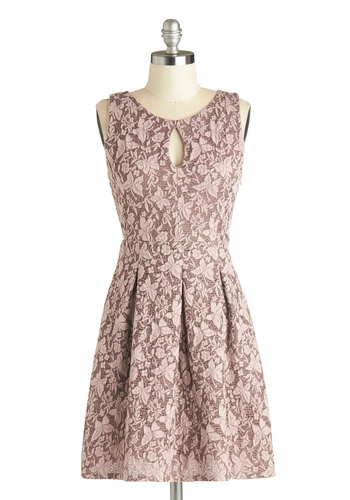 Luncheon Honoree Dress - Short, Cutout, Lace, Pleats, A-line, Sleeveless, Good, Scoop, Pink, Print, Wedding, Daytime Party, Lace, Bridesmaid