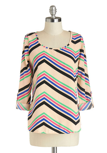 Proof of Success Top - Mid-length, Tan, Green, Blue, Pink, Stripes, 3/4 Sleeve, Chevron, Casual, Woven, Scoop, Multi, Tab Sleeve
