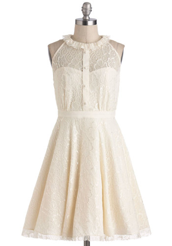 Resplendent Rime Dress - Cream, Buttons, Lace, Wedding, Sleeveless, Sheer, Mid-length, Solid, Cutout, A-line, Vintage Inspired, Fairytale, Graduation, Bride, Prom