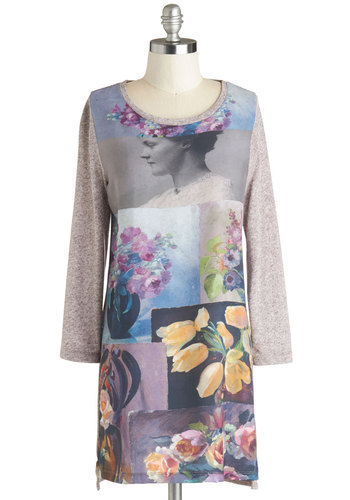 The Art of It All Dress by Nice Things - Multi, Floral, Casual, Sheath / Shift, Long Sleeve, Better, Scoop, Short, Knit, Woven, Winter