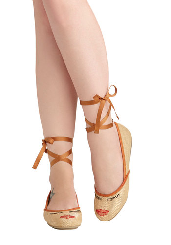 Lash Dance Flat by Shellys of London - Solid, Woven, Leather, Tan, Embroidery, Casual, Quirky, Flat, International Designer