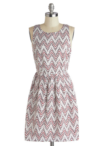 Farm Dinner Dress by Jack by BB Dakota - Mid-length, Woven, Red, Chevron, Cutout, Party, A-line, Sleeveless, Good, White