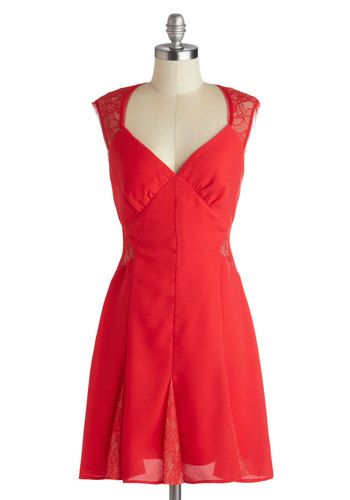 Lace Your Dreams Dress by Max and Cleo - Cutout, Mid-length, Knit, Red, Solid, Lace, Party, A-line, Sleeveless, Better, Girls Night Out, Valentine's