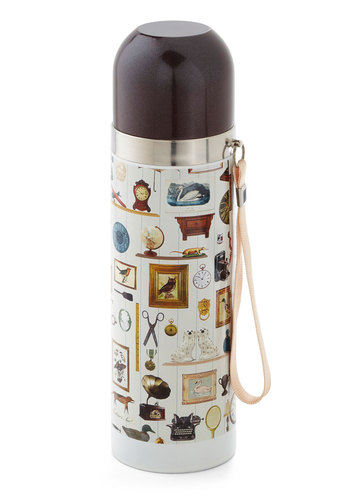 Flask from the Past Travel Bottle by Disaster Designs - Multi, Multi, Novelty Print, Eco-Friendly, Vintage Inspired, Travel, Good