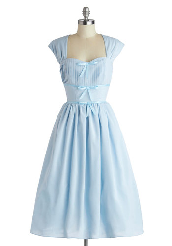 Friend Setter Dress - Long, Woven, Blue, Solid, Bows, A-line, Cap Sleeves, Better, Sweetheart, Pleats, Vintage Inspired, 50s, 60s, Fairytale, Pastel, Fit & Flare, Daytime Party