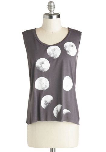 Never Phased Top - Mid-length, Jersey, Knit, Grey, White, Casual, Novelty Print, Summer, Scoop, Tank top (2 thick straps), Grey, Sleeveless