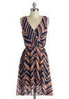 Sunset Safari Dress - Mid-length, Blue, Coral, Chevron, A-line, Sleeveless, Good, V Neck, Party, Daytime Party, Woven