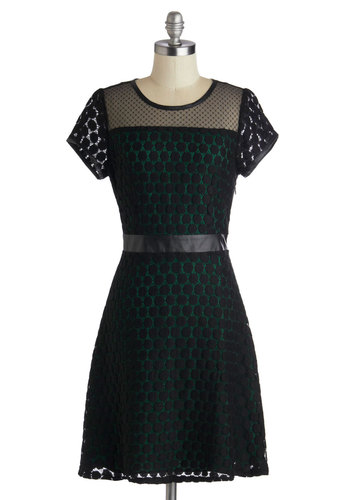 Pine and Dine Dress - Mid-length, Sheer, Black, Solid, Lace, Party, A-line, 3/4 Sleeve, Better, Scoop, Green, Lace