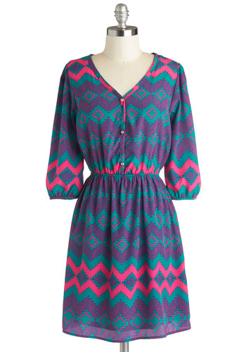 Southwest Fest Dress - Knit, Purple, Green, Pink, Print, Buttons, Casual, A-line, 3/4 Sleeve, Good, V Neck, Mid-length, 90s, Top Rated
