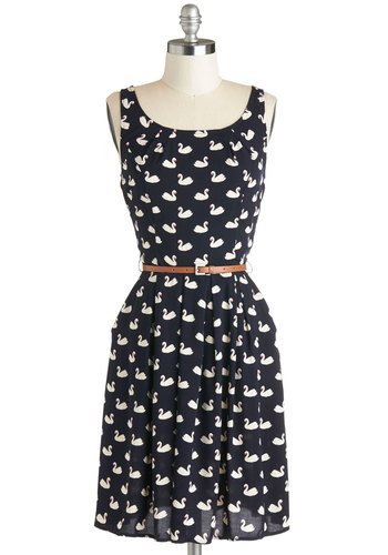 Swans Upon a Dream Dress - Knit, Mid-length, White, Print with Animals, Belted, Casual, A-line, Tank top (2 thick straps), Good, Scoop, Blue, Pockets, Novelty Print