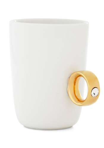 Engaging Conversation Mug by Fred - Wedding, Cream, Gold, Rhinestones, Good