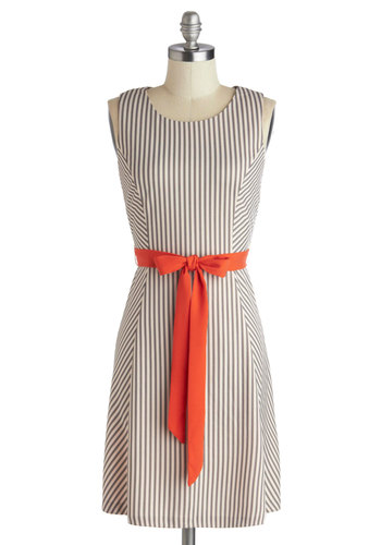 Confidence in You Dress - Mid-length, Knit, Cream, Orange, Black, Stripes, Belted, Casual, Shift, Sleeveless, Better, Scoop