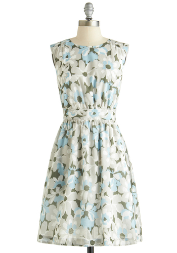 Too Much Fun Dress in Dew Blossoms by Emily and Fin - Cotton, Woven, Blue, Grey, Floral, Pockets, Casual, A-line, Sleeveless, Better, Crew, Basic, Green, Exclusives, Mid-length, Top Rated