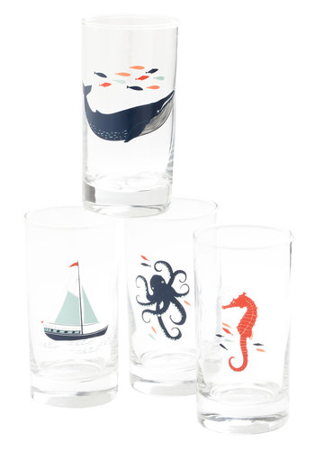 Captain's Lager Glass Set - Multi, Nautical, Print with Animals, Novelty Print, Good, Top Rated
