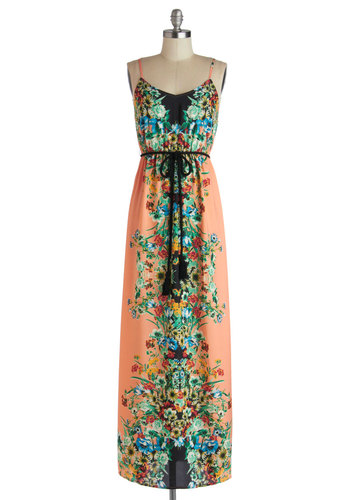 Roof Garden Reflection Dress - Long, Chiffon, Woven, Multi, Floral, Belted, Casual, Maxi, Spaghetti Straps, Good, Boho, Multi, Pink