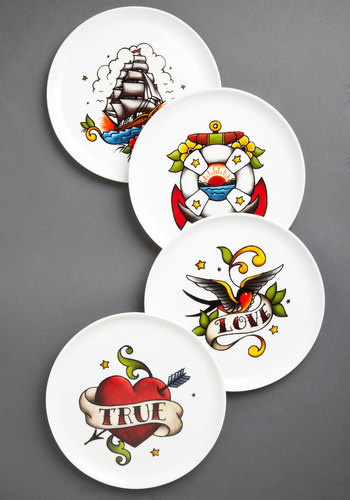 The Kitchen Ink Plate Set by One Hundred 80 Degrees - Multi, White, Novelty Print, Rockabilly, Vintage Inspired, Good