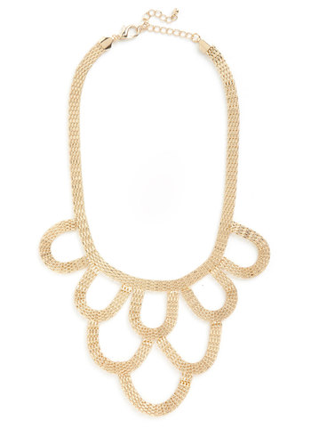 On a Grand Scale Necklace in Gold - Gold, Statement, Gold