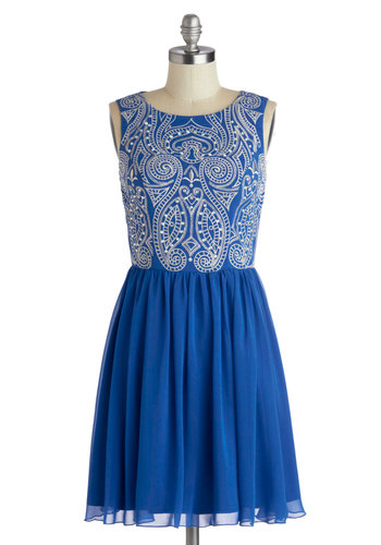 Belle of the Ballet Dress - Mid-length, Blue, White, Cutout, Embroidery, Rhinestones, A-line, Sleeveless, Better, Party, Prom, Homecoming