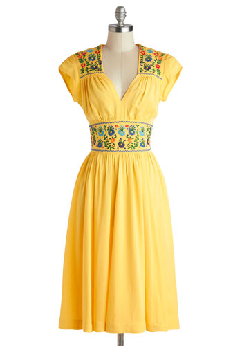 The Sky Sewn Bright Dress - Long, Knit, Yellow, Multi, Embroidery, Casual, Boho, A-line, Cap Sleeves, Best, Folk Art