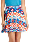 Cool Hand Look Skirt - Multi, Casual, A-line, Short, Print, Statement, Multi, Knit