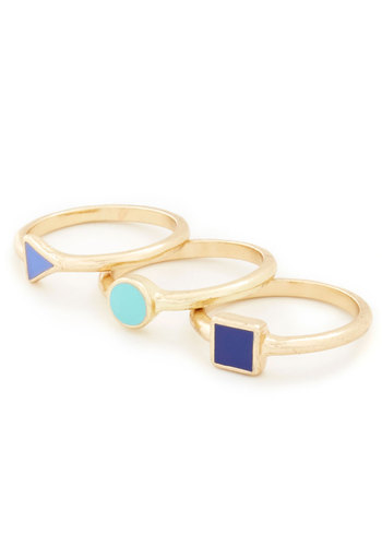 Trio and Try Again Rings - Blue, Gold, Solid, Gold, 90s