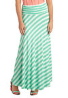Cute for Certain Skirt in Cool Mint - Long, Green, Stripes, Casual, Maxi, Green