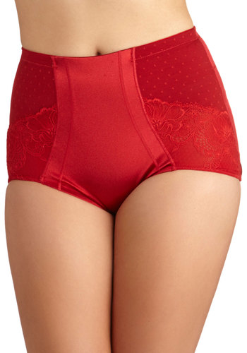 Smooth Dance Moves Contouring Undies in Ruby - Red, Solid, Lace, International Designer, Satin, Knit, Valentine's, Lace