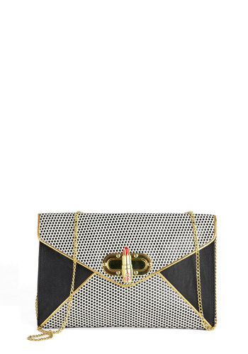 Betsey Johnson Lipstick to Your Style Clutch by Betsey Johnson - Black, Red, White, Party, Girls Night Out, Statement, Faux Leather, Solid, Polka Dots, Trim, Better, Gold