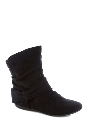 Agent Ninety-Fine Boot in Black - Black, Solid, Ruching, Casual, Flat, Faux Leather, Good, Basic, Fall