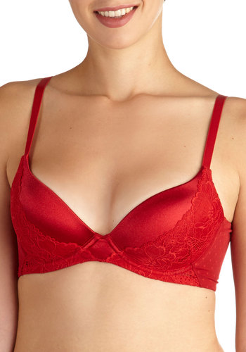 Smooth Dance Moves Push-Up Bra in Ruby - Red, Solid, Lace, Spaghetti Straps, International Designer, Satin, Knit