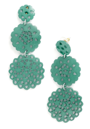 Doily Routine Earrings in Turquoise by Mata Traders - Blue, Solid, Cutout, Tiered, Statement, Variation, Boho, Eco-Friendly, Green, Party