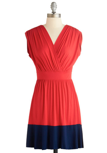 Spare Time and Again Dress - Mid-length, Red, Blue, Casual, A-line, Cap Sleeves, V Neck, Travel, Summer, Exclusives