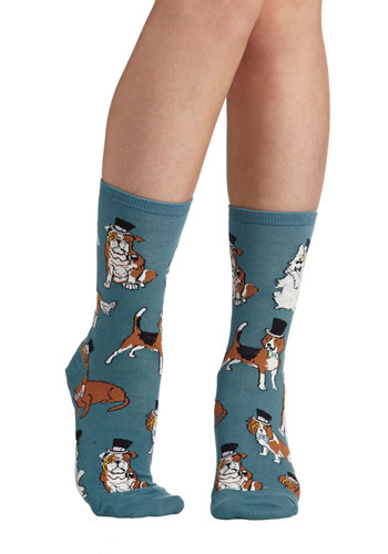 Paws for Thought Socks - Blue, Multi, Print with Animals, Quirky, Good, Knit