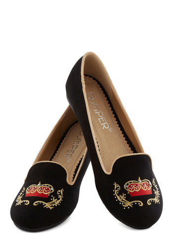Throne Sweet Home Flat - Black, Embroidery, Rhinestones, Menswear Inspired, Flat, Good, Red, Gold, Casual, Quirky
