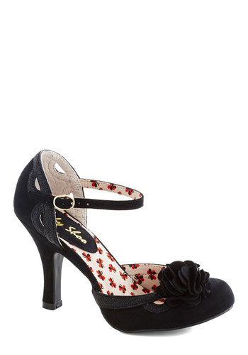 You Cancan Do It Heel - Black, Cutout, Flower, Daytime Party, High, Better, Solid, Wedding, Party, Cocktail, Faux Leather, Holiday Party