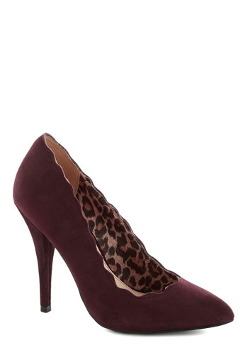 Betsey Johnson Head Over Hills Heel in Wine by Betsey Johnson - High, Red, Solid, Scallops, Formal, Wedding, Work, Graduation, Better