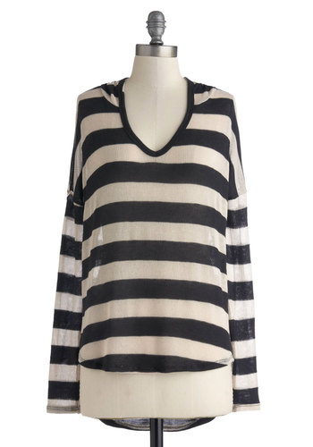 Moonlit Bonfire Top - Mid-length, Sheer, Knit, Multi, Black, White, Stripes, Casual, Long Sleeve, Travel, V Neck, Fall, Multi, Long Sleeve