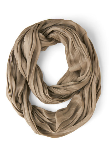 Brighten Up Circle Scarf in Taupe - Grey, Solid, Good, Variation, Woven, Basic, Minimal, Fall