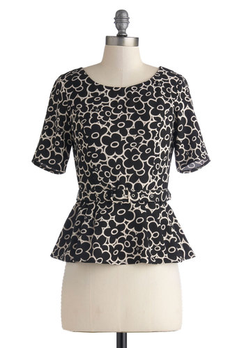 What Flowers is Yours Top - Mid-length, Woven, Black, White, Floral, Work, Peplum, Short Sleeves, International Designer, Belted, Scoop, Black, Short Sleeve