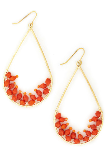 Orange Tree Earrings - Orange, Gold, Solid, Beads, Boho, Gold