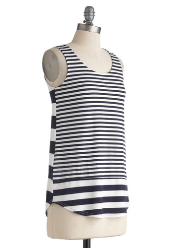 Stripe Up the Bass Top - Mid-length, Jersey, Blue, White, Stripes, Sleeveless, Casual, Nautical, Summer, Knit, Scoop, Blue, Sleeveless